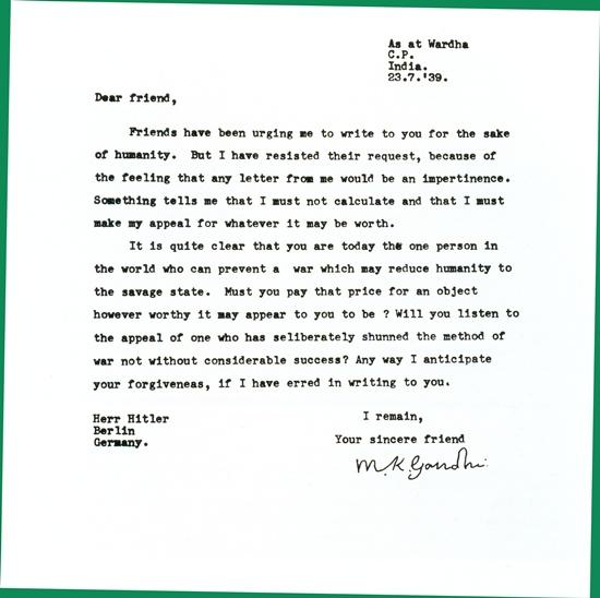 Ghandi levele hitlernek